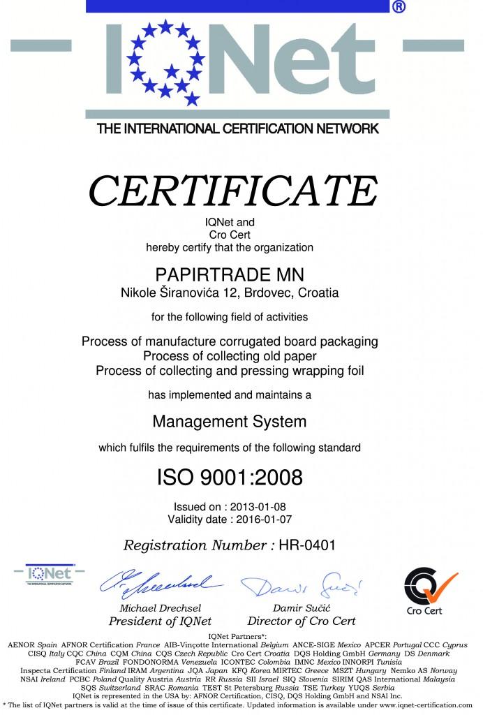 Microsoft Word - IQNet Cert  9001.doc